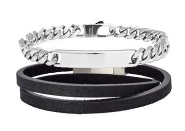 Sort læderarmbånd og sølv armbånd til mænd