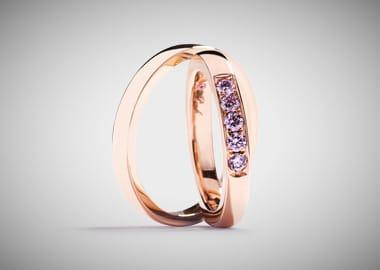 Vielsesringe i med pink argyle diamanter