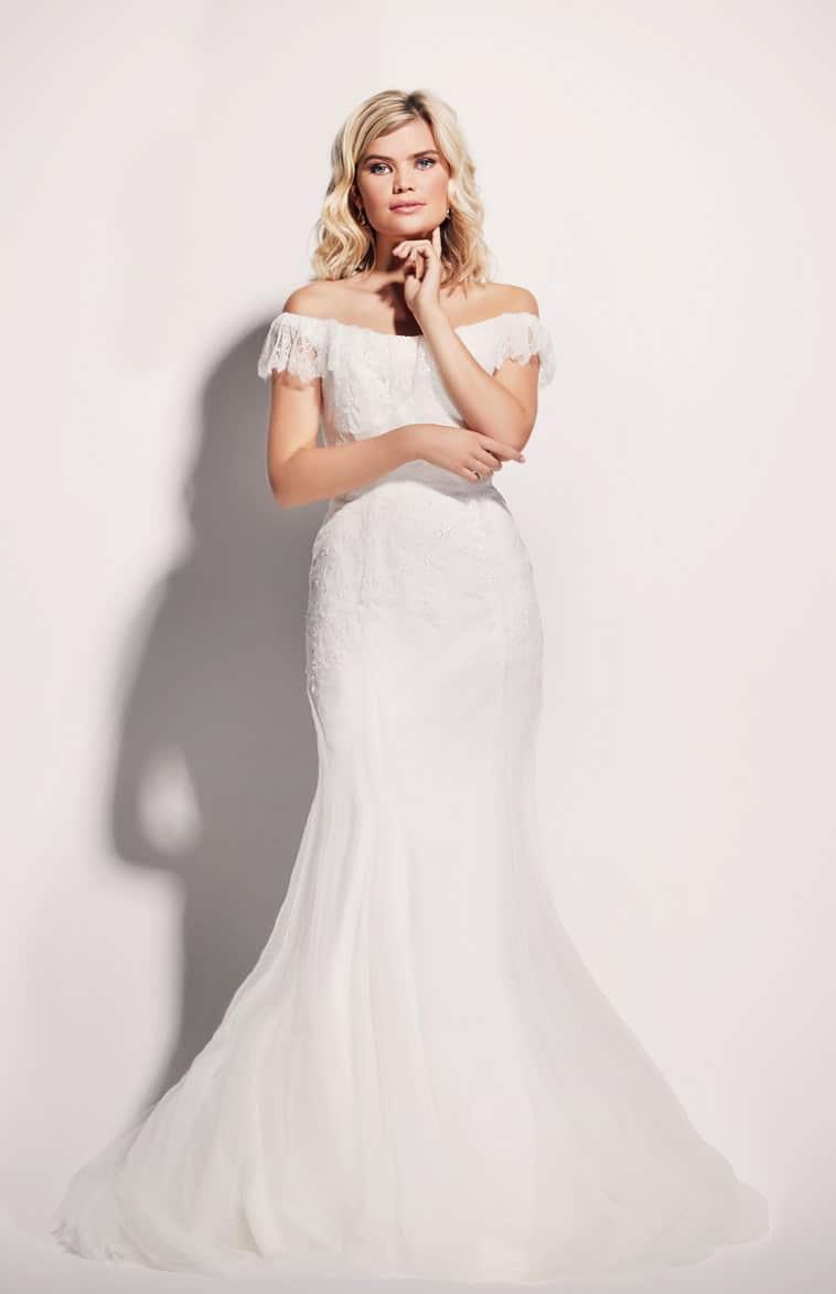 Brudekjole havfrue facon i blonde med carmen krave