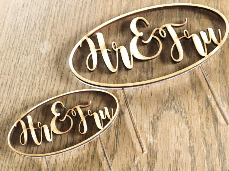 Hr & Fru bryllupskage monogram