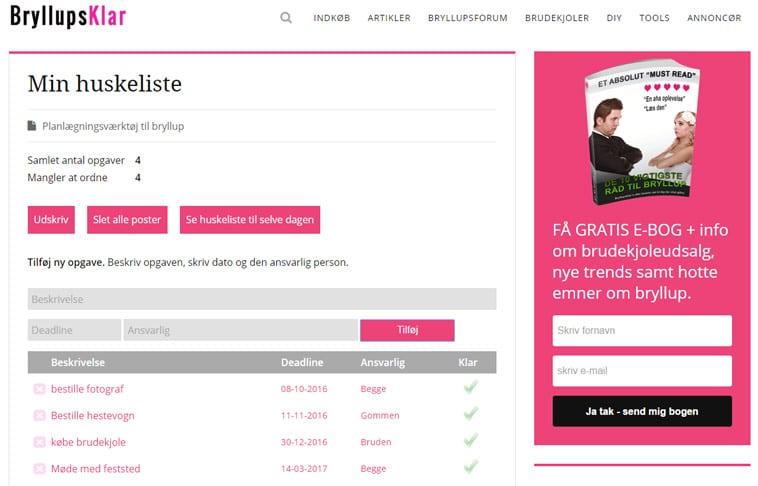 skærmprint af online huskeliste