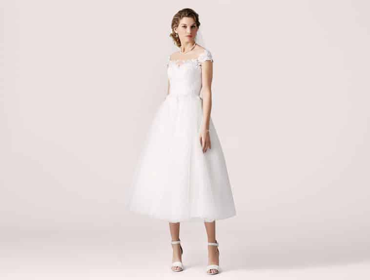 3/4 lang brudekjole med stropper