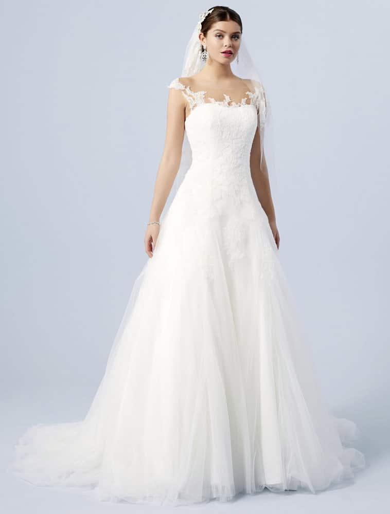 Brudekjole med små ærmer