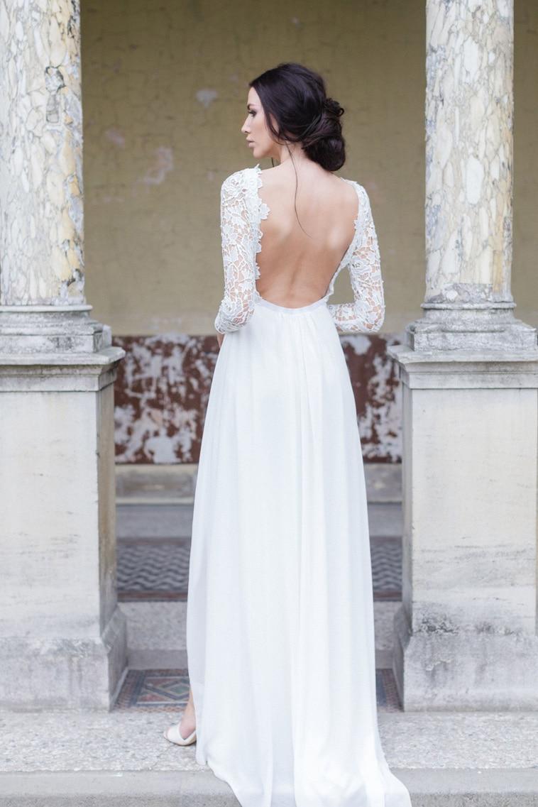 brudekjole med flot bar ryg