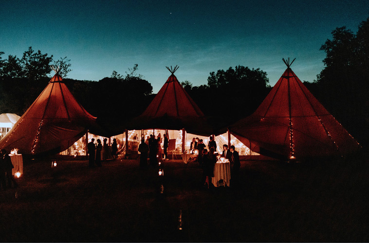3 luksus telt tipier sat sammen til bryllup