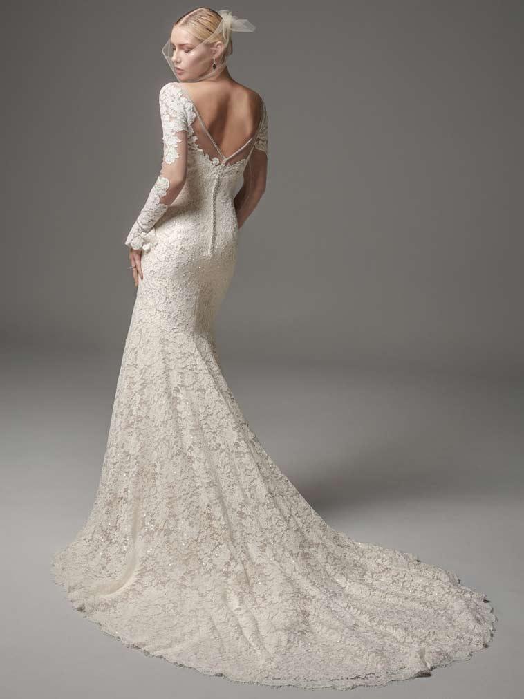 brudekjole med helblonde og lange ærmer v udskæring bagtil