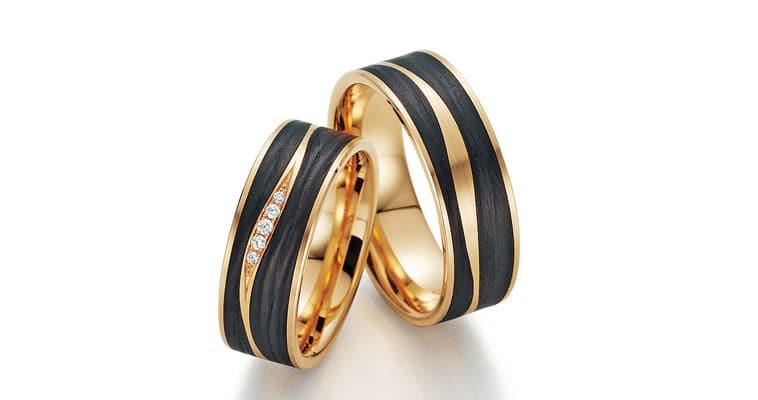 Vielsesringe i guld og kulfiber