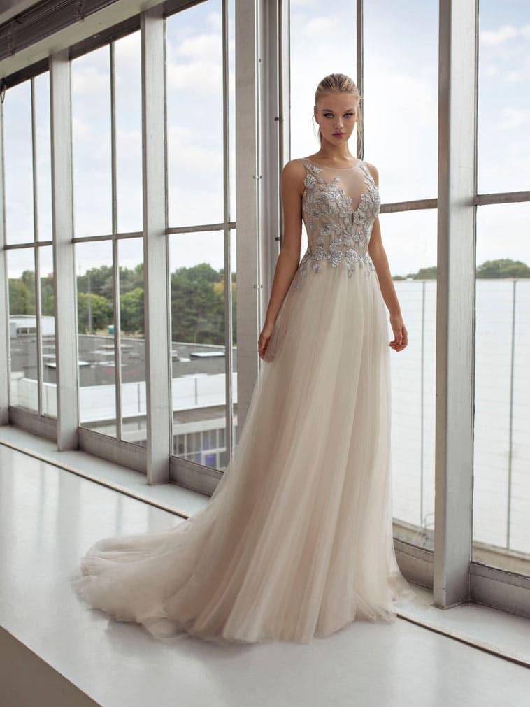 A-line brudekjole sølvfarvet blonde