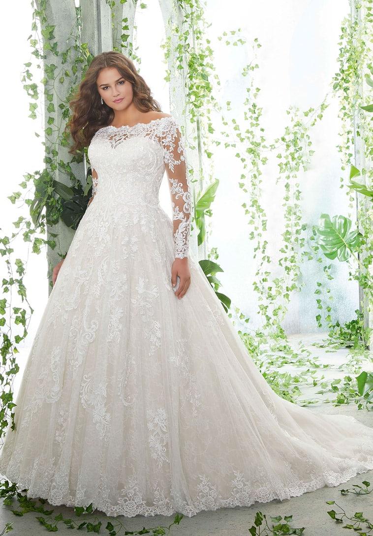 prinsesse-brudekjole med lange ærmer