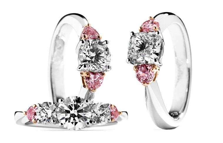 vielsesringe med pink diamanter