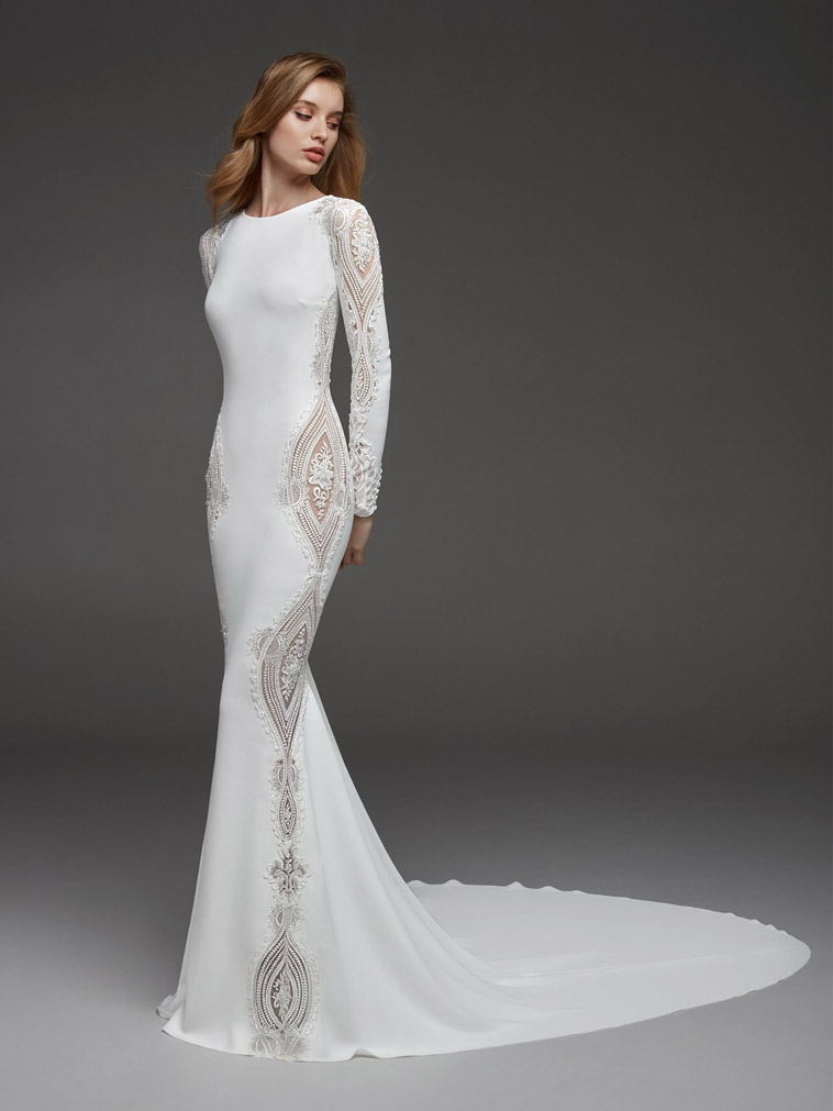 stretch brudekjole med lange ærmer