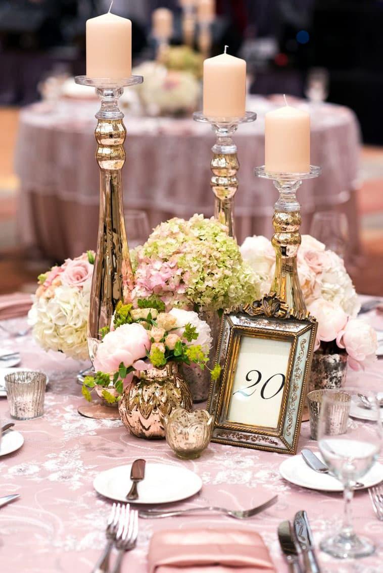 bryllupsbord med centerpiece