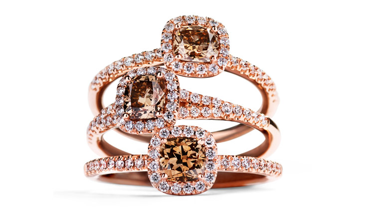 rosetringe med cognac farvede diamanter