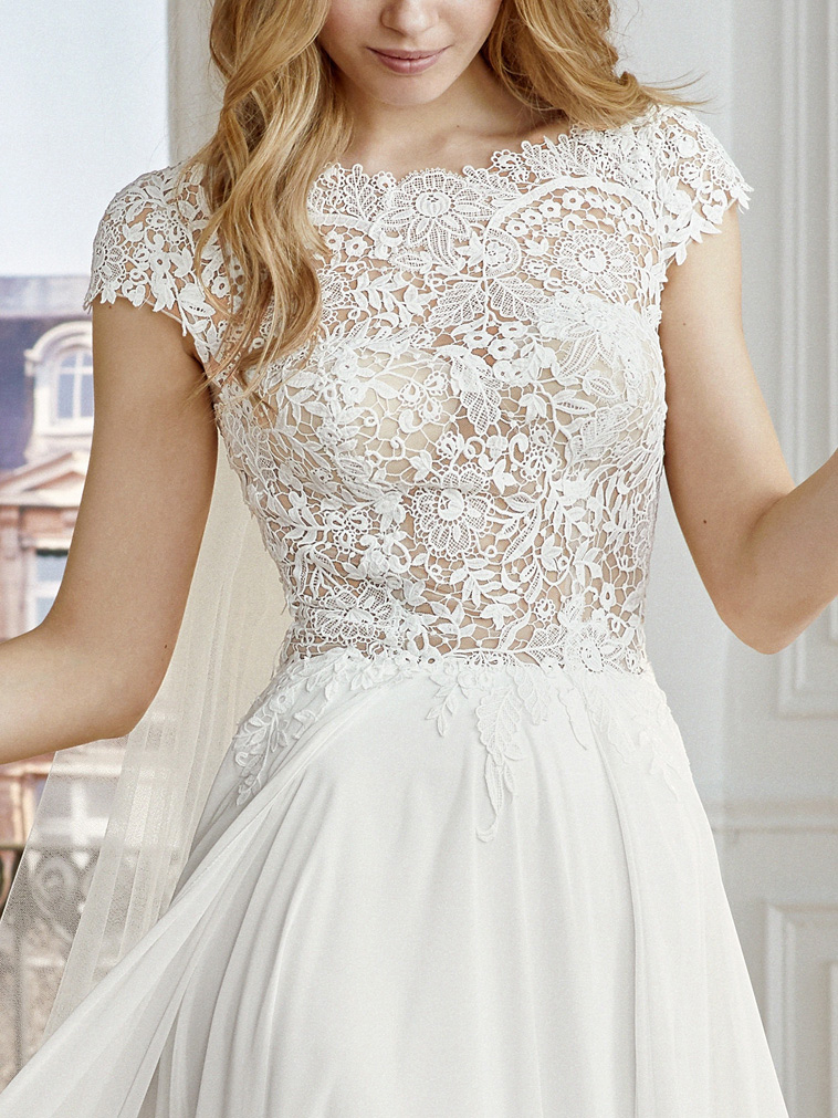 brudekjole overdel semi transparent