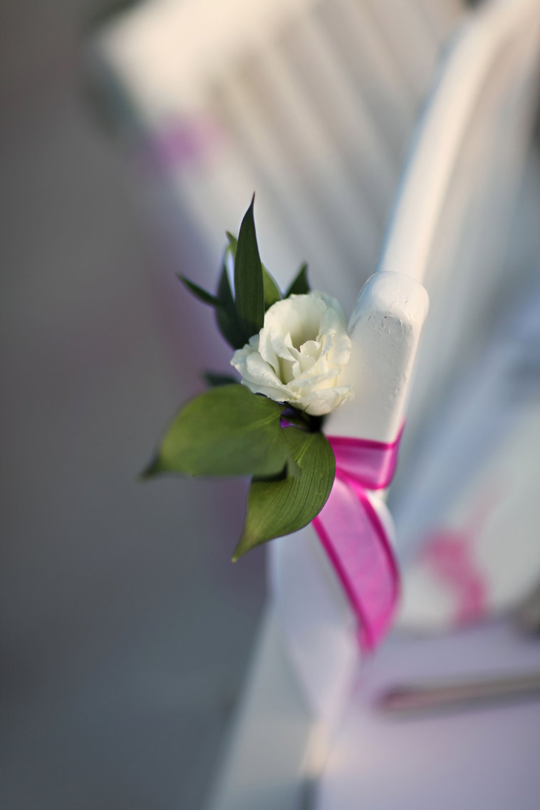 hvid træstol rose bundet med lyserød satinbånd