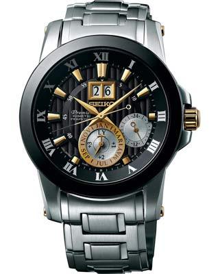 Seiko ur med sort skive og stål lænke