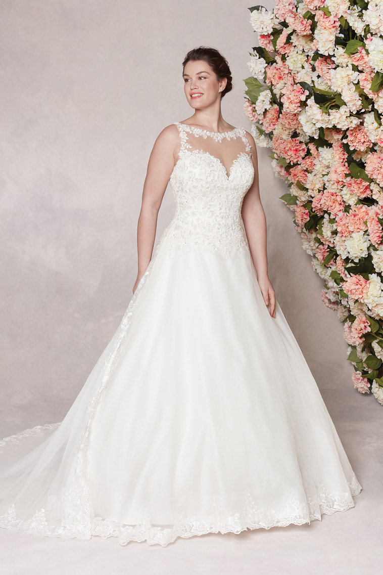 brudekjole uden ærmer A-line facon