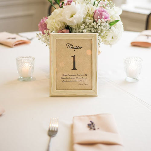 Bordskilt på bryllupsbord