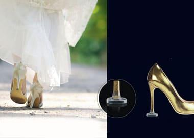 Guldfarvet stilet sko med hæle beskytter i plast
