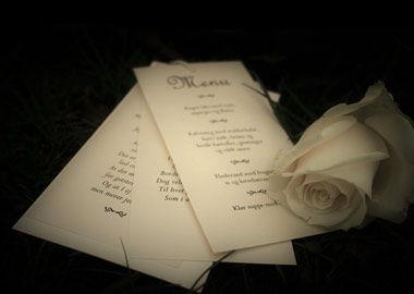 Bryllupsinvitationer og hvid rose