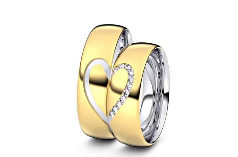 vielsesringe i guld med hjerte