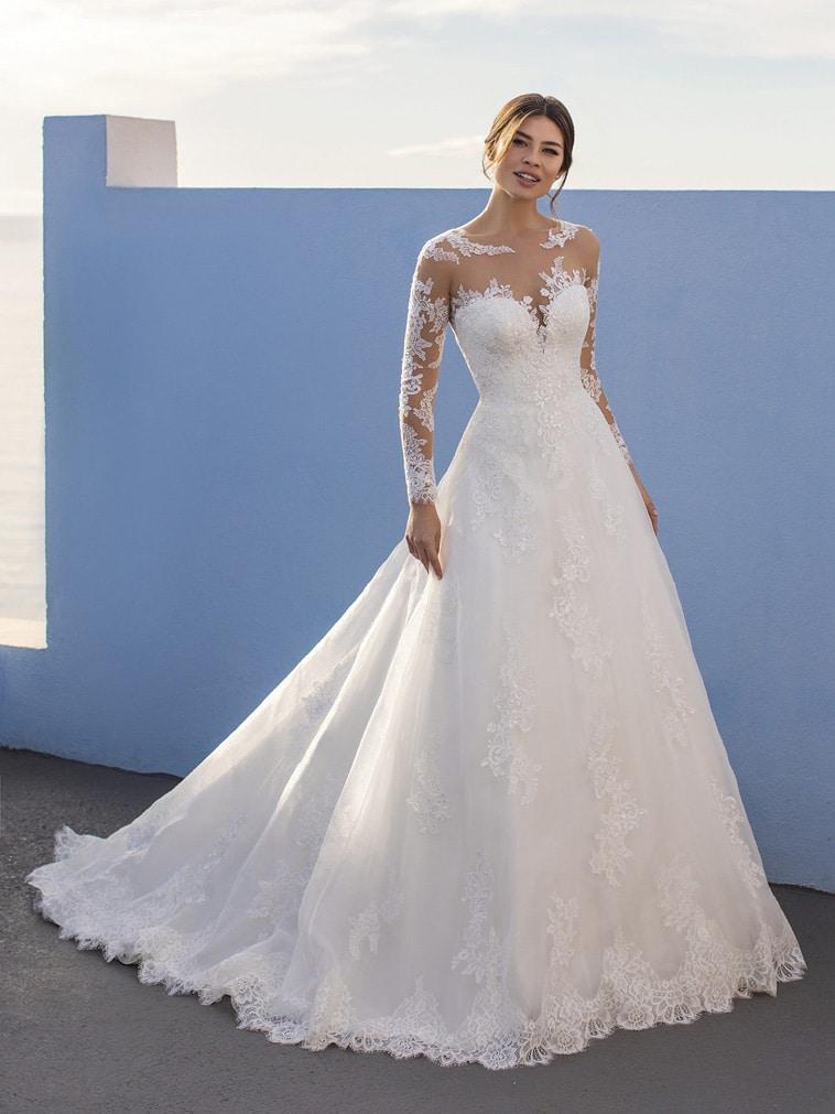 A-line brudekjole med illusion halsudskæring